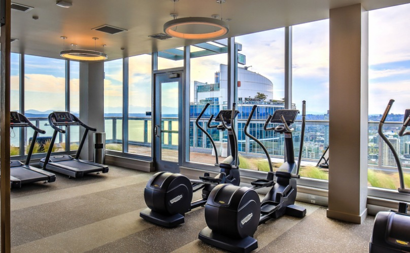Fitness Area with treadmills dumbbells an machines
