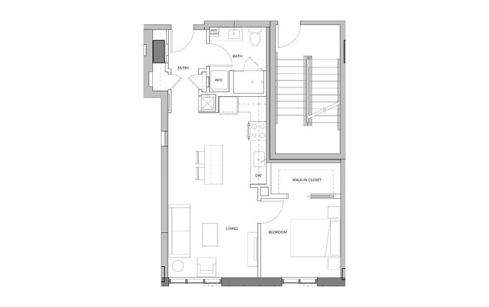 P02 1 Bedroom 1 Bath Floorplan