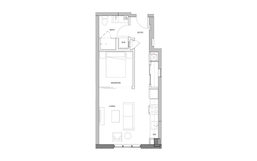P03 Open Studio 1 Bath Floorplan