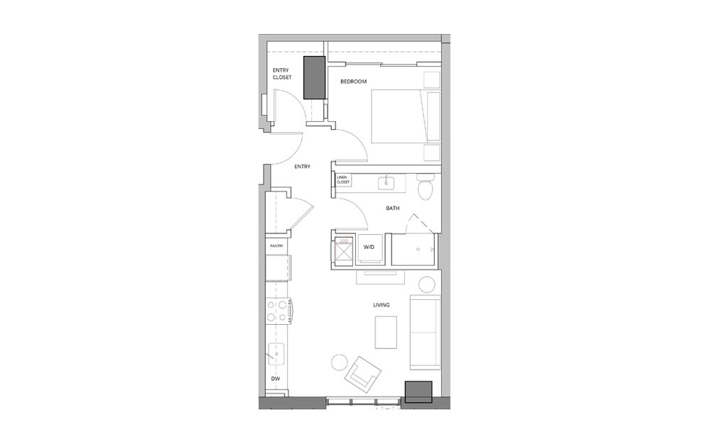 P04 1 Bedroom 1 Bath Floorplan