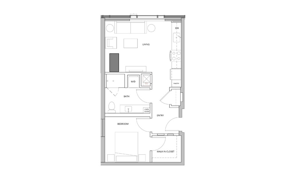 P05 1 Bedroom 1 Bath Floorplan