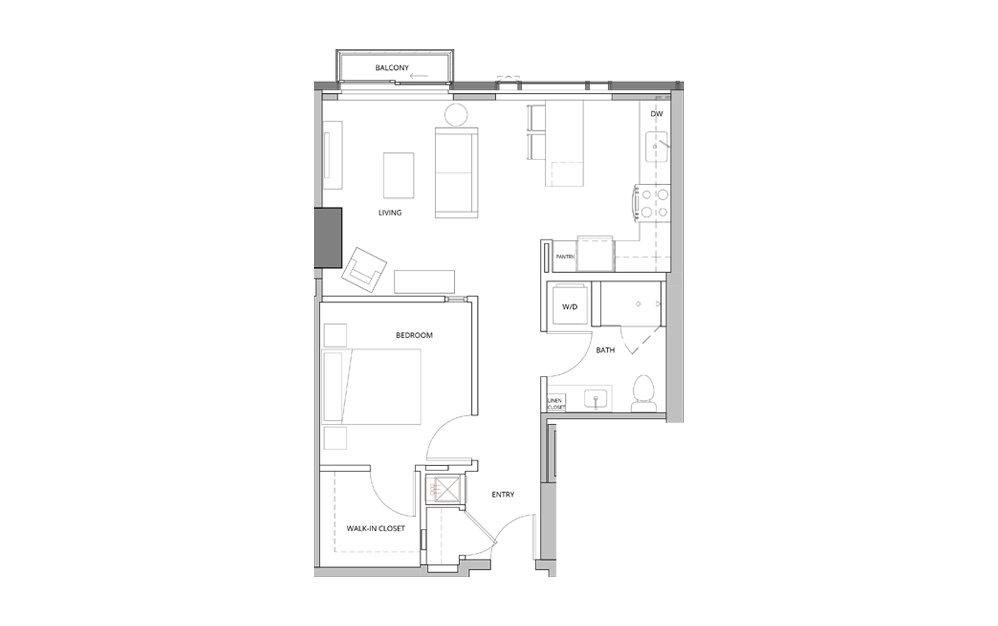 P06 1 Bedroom 1 Bath Floorplan