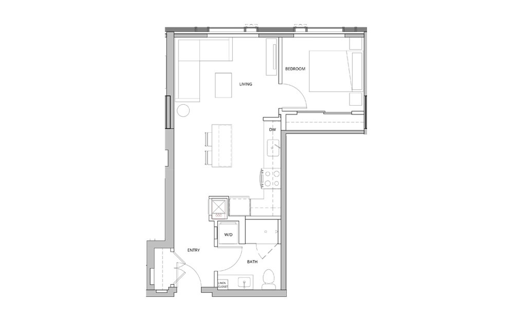 P07 1 Bedroom 1 Bath Floorplan