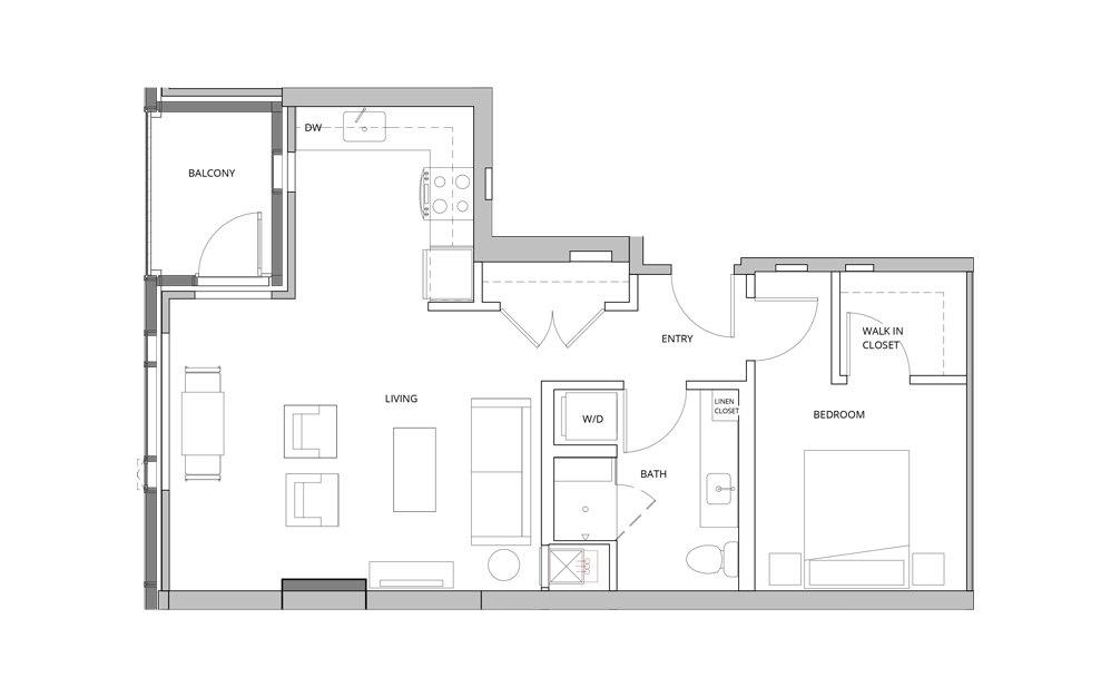 P09 1 Bedroom 1 Bath Floorplan