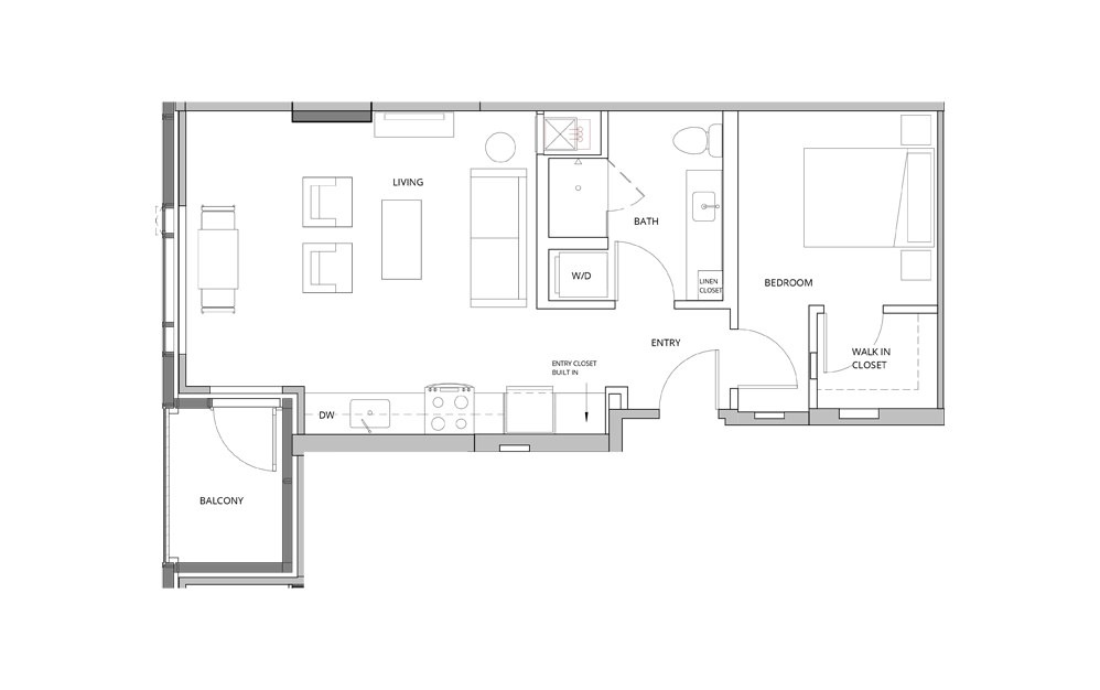 P10 1 Bedroom 1 Bath Floorplan
