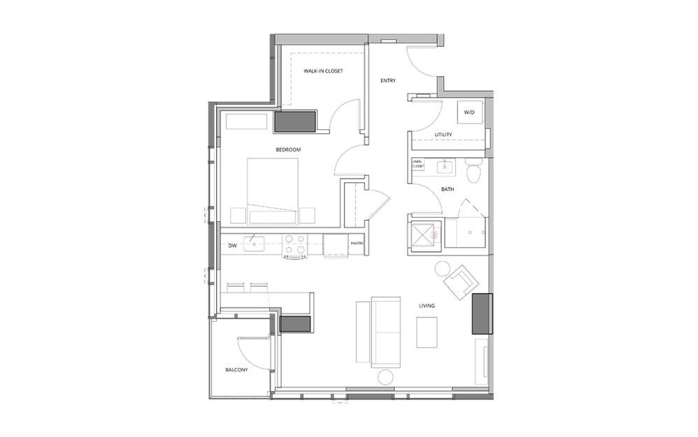 P11 1 1 Bedroom 1 Bath Floorplan