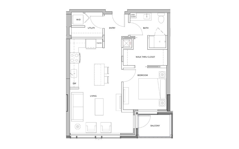 P12 1 Bedroom 1 Bath Floorplan