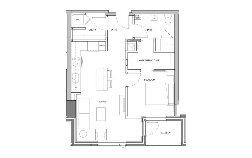 P13 1 Bedroom 1 Bath Floorplan