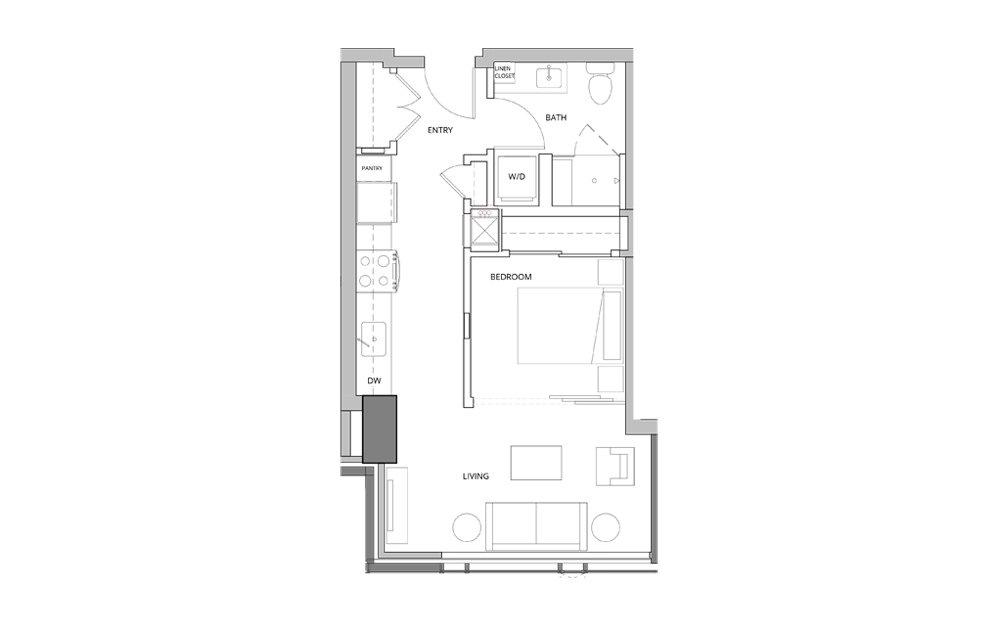 P14 Open Studio 1 Bath Floorplan