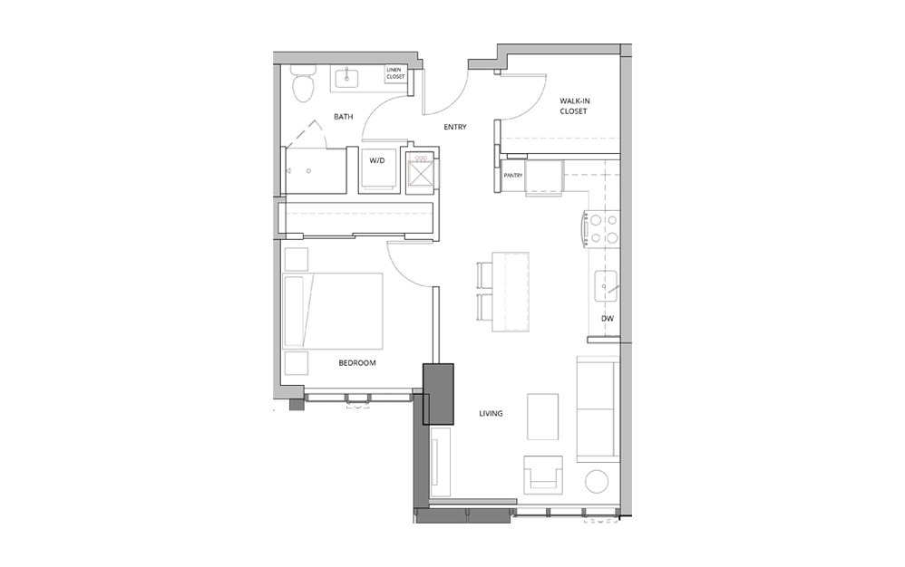 P15 1 Bedroom 1 Bath Floorplan