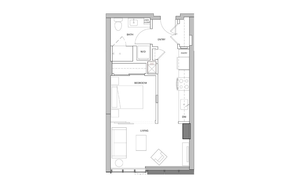 P16 Studio 1 Bath Floorplan