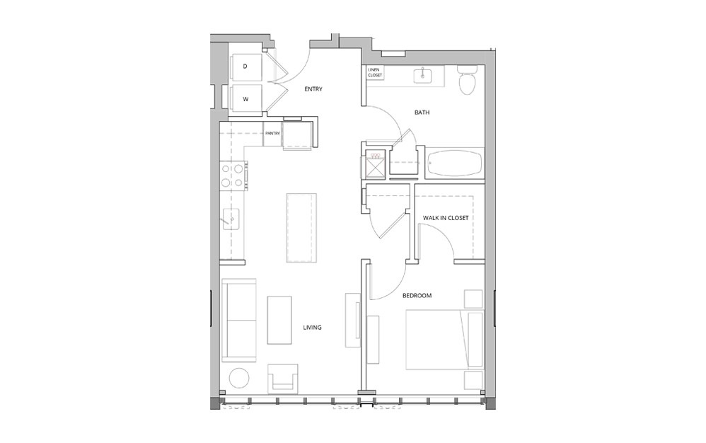 P17 1 Bedroom 1 Bath Floorplan