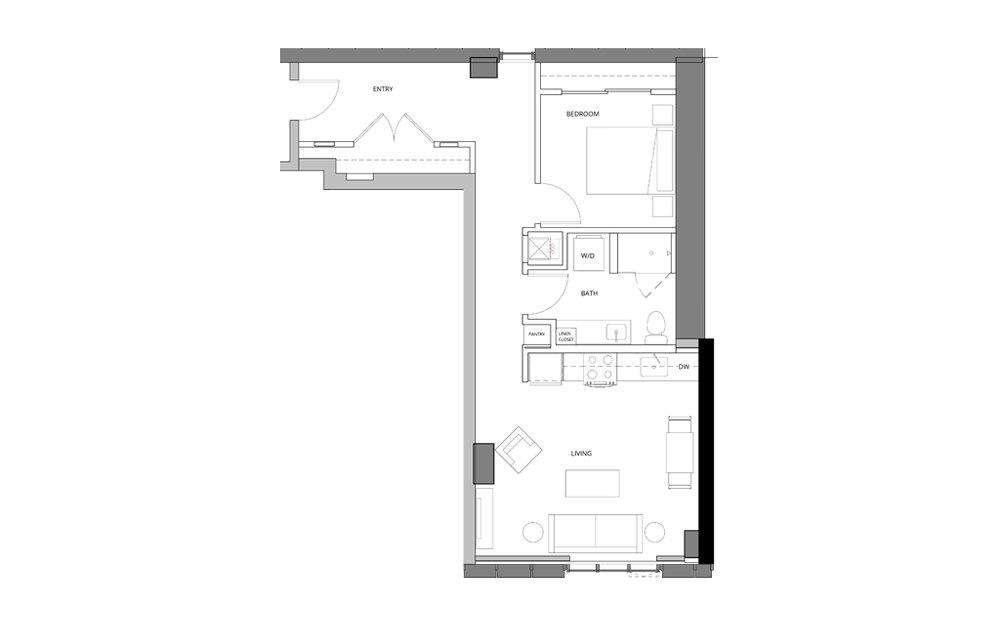 P18 1 Bedroom 1 Bath Floorplan