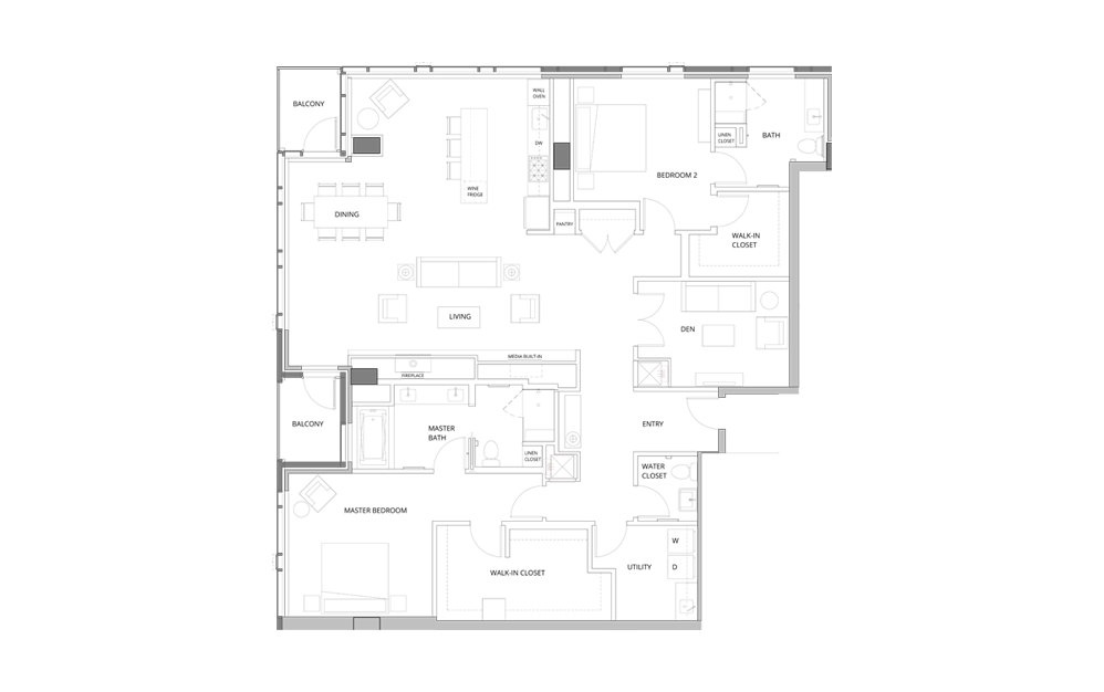 PH02 2 Bedroom 2.5 Bath Floorplan