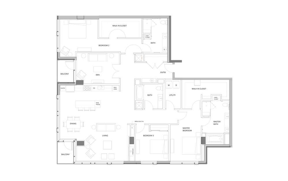 PH03 Level 37 3 Bedroom 3 Bath Floorplan