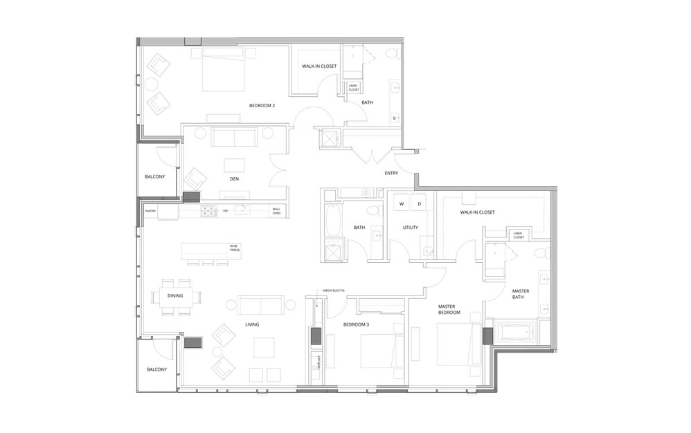 PH03 Level 38 3 Bedroom 3 Bath Floorplan