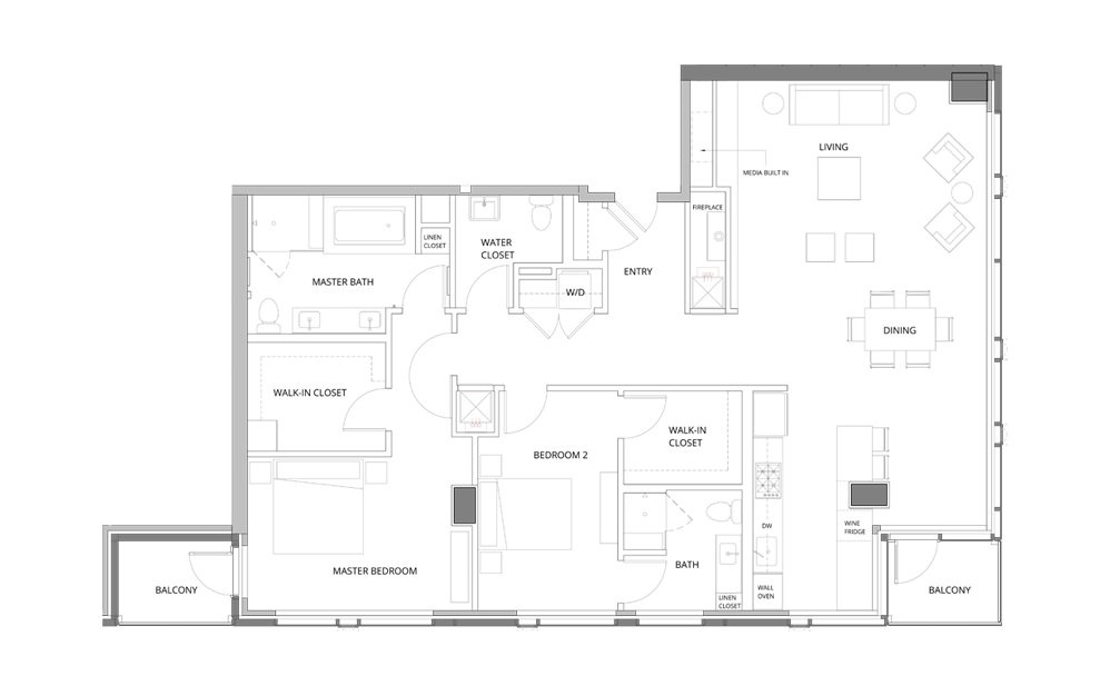 PH04 2 Bedroom 2.5 Bath Floorplan