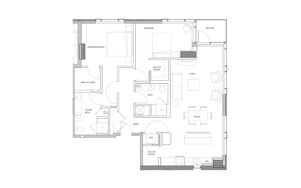T01 2 Bedroom 2 Bath Floorplan