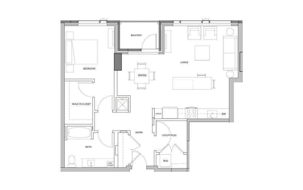 T02 1 Bedroom 1 Bath Floorplan