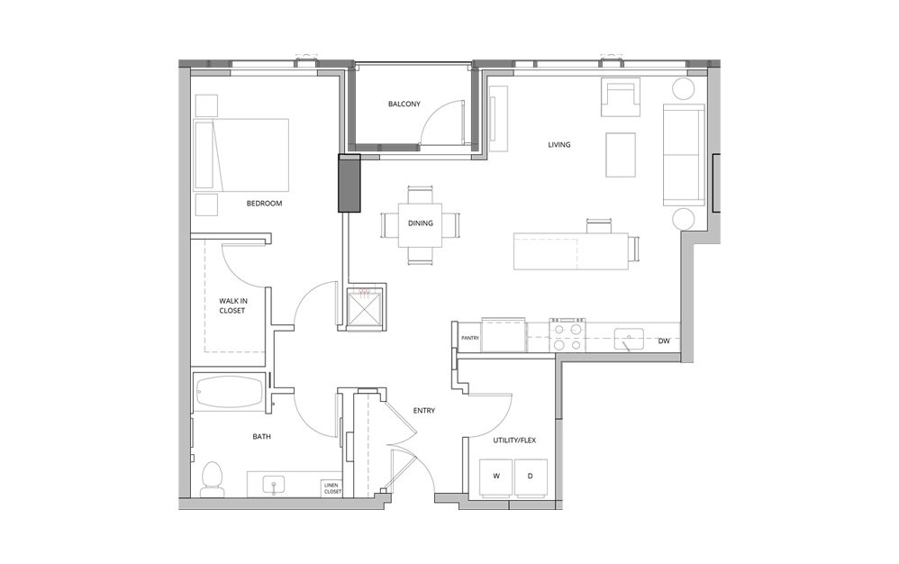 T02A 1 Bedroom 1 Bath Floorplan