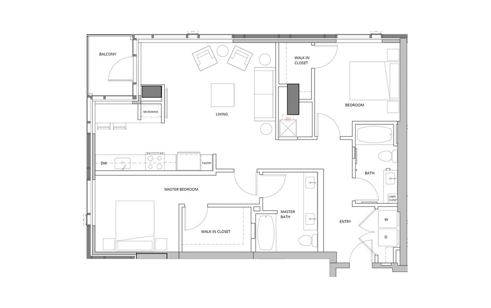 T03A 2 Bedroom 2 Bath Floorplan