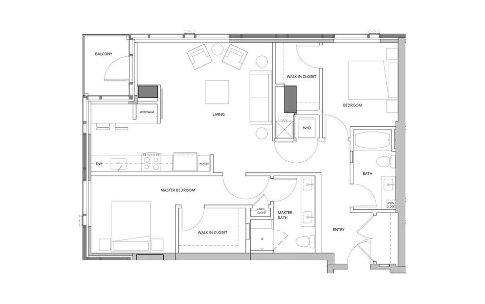 T03 2 2 Bedroom 2 Bath Floorplan