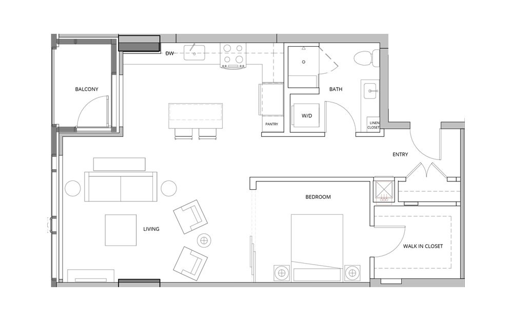 T04 Open Studio 1 Bath Floorplan