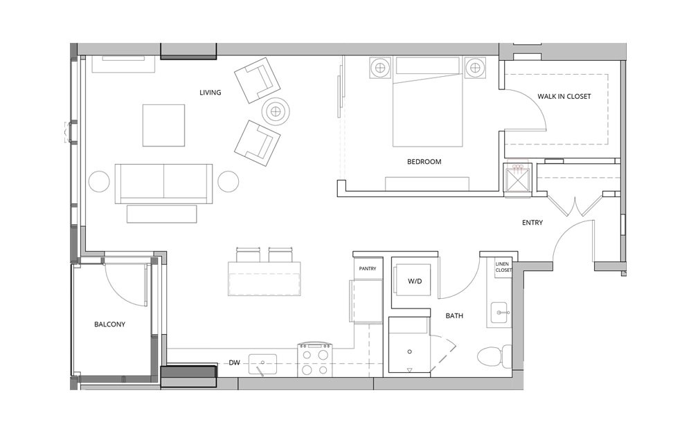 T05 Open Studio 1 Bath Floorplan