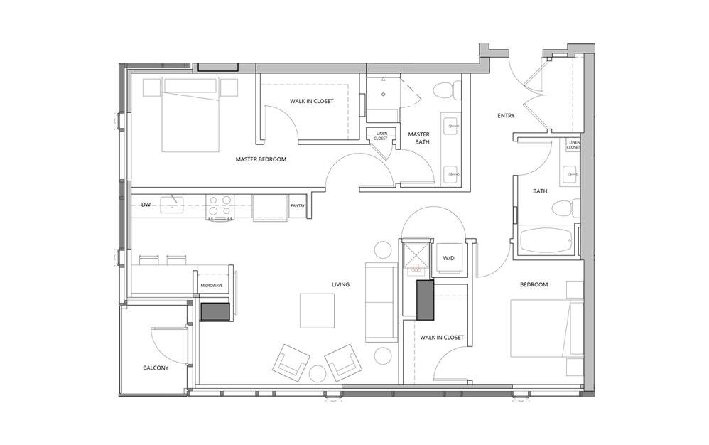 T06 2 Bedroom 2 Bath Floorplan