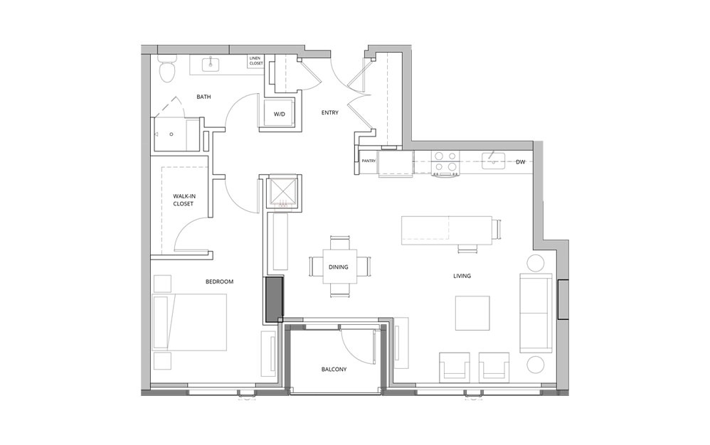 T07 1 Bedroom 1 Bath Floorplan