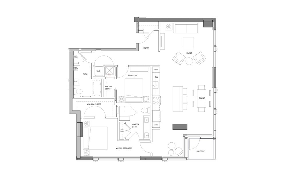 T08 2 Bedroom 2 Bath Floorplan