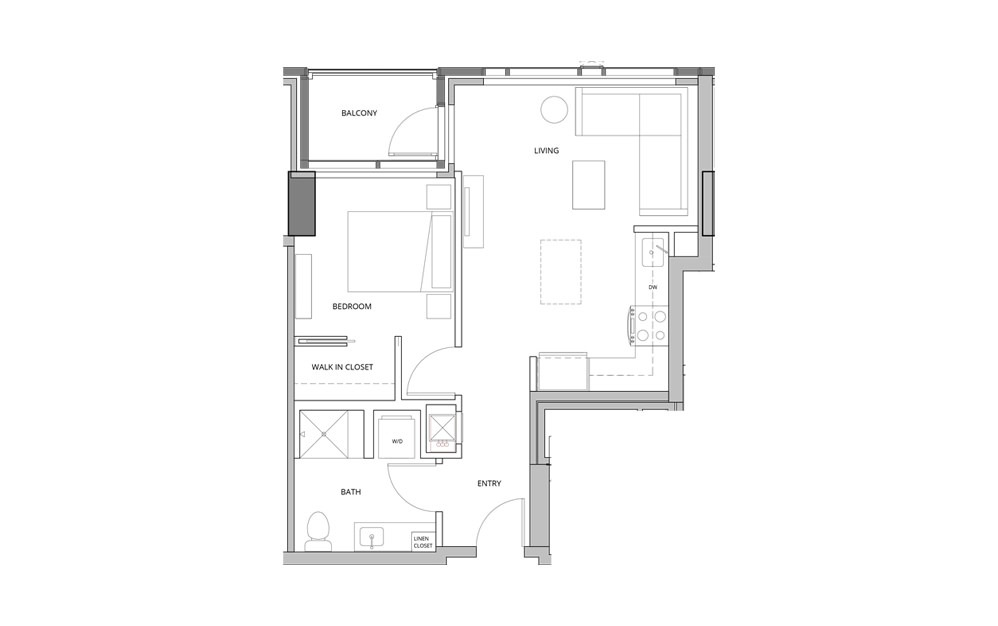 T09 1 Bedroom 1 Bath Floorplan